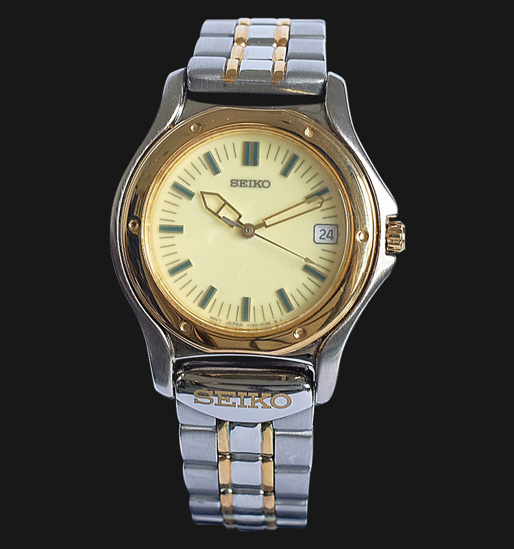Seiko Classic SKG012P Beige Dial Two Tone Stainless Steel Strap Machtwatch