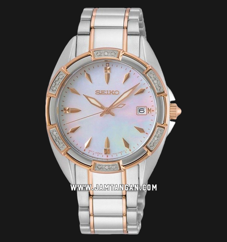 Seiko Classic SKK878P1 Diamond Mother Of Pearl Dial Dual Tone Stainless Steel Strap Machtwatch