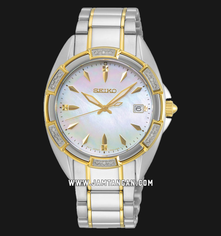 Seiko Classic SKK880P1 Diamond Mother Of Pearl Dial Dual Tone Stainless Steel Strap Machtwatch