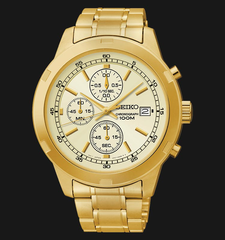 Seiko Chronograph SKS426P1 Champagne Dial Gold Stainless Steel Strap Machtwatch