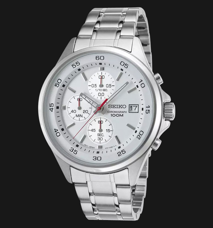Seiko Chronograph SKS473P1 White Dial Stainless Steel Bracelet Machtwatch