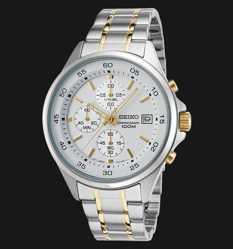 Seiko Chronograph SKS479P1 White Dial Two Tone Stainless Steel Bracelet Machtwatch