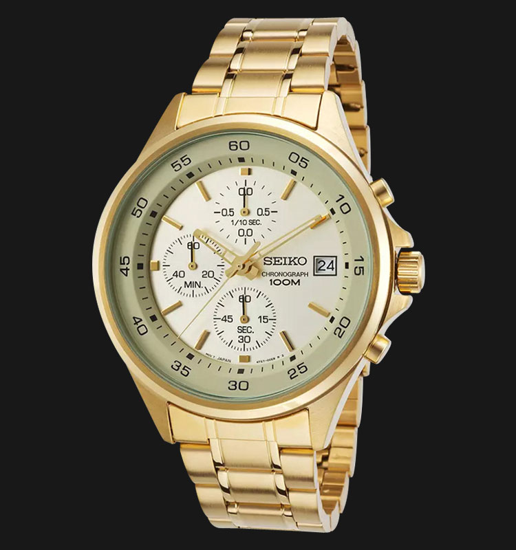 Seiko Chronograph SKS482P1 Gold Dial Stainless Steel Bracelet Machtwatch