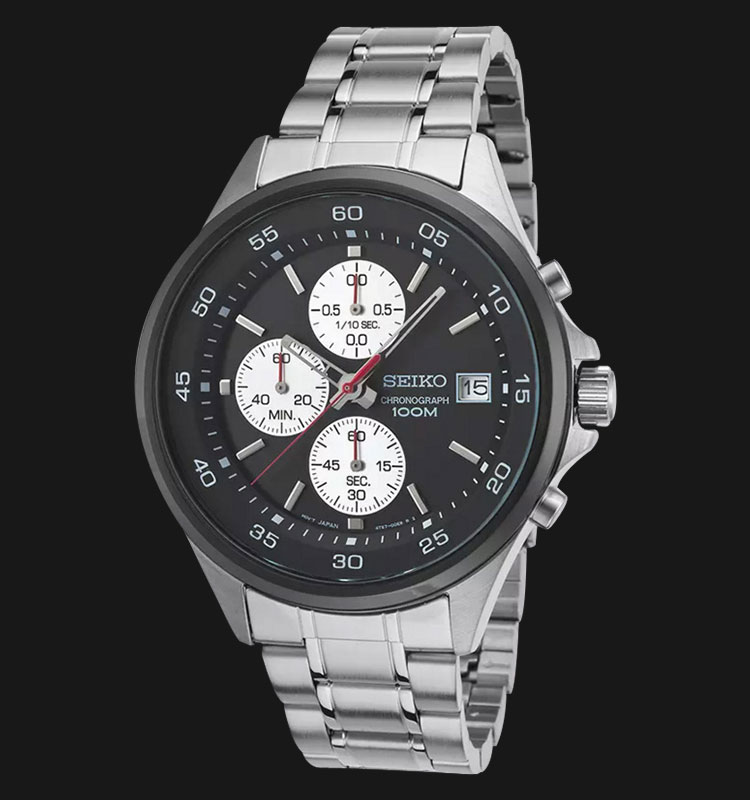 Seiko Chronograph SKS483P1 Black Dial Stainless Steel Bracelet Machtwatch