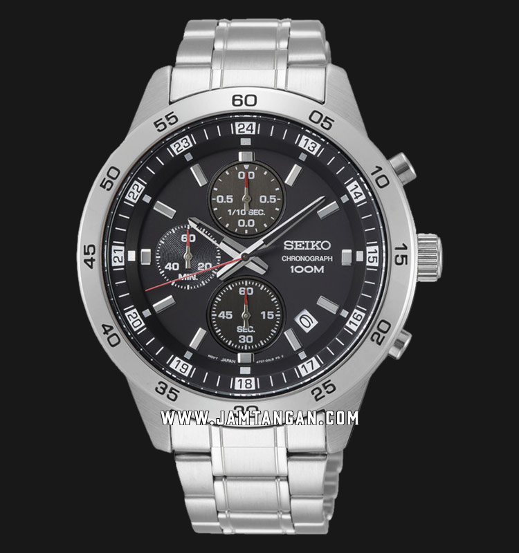 Seiko Chronograph SKS641P1 Black Dial Stainless Steel Strap Machtwatch