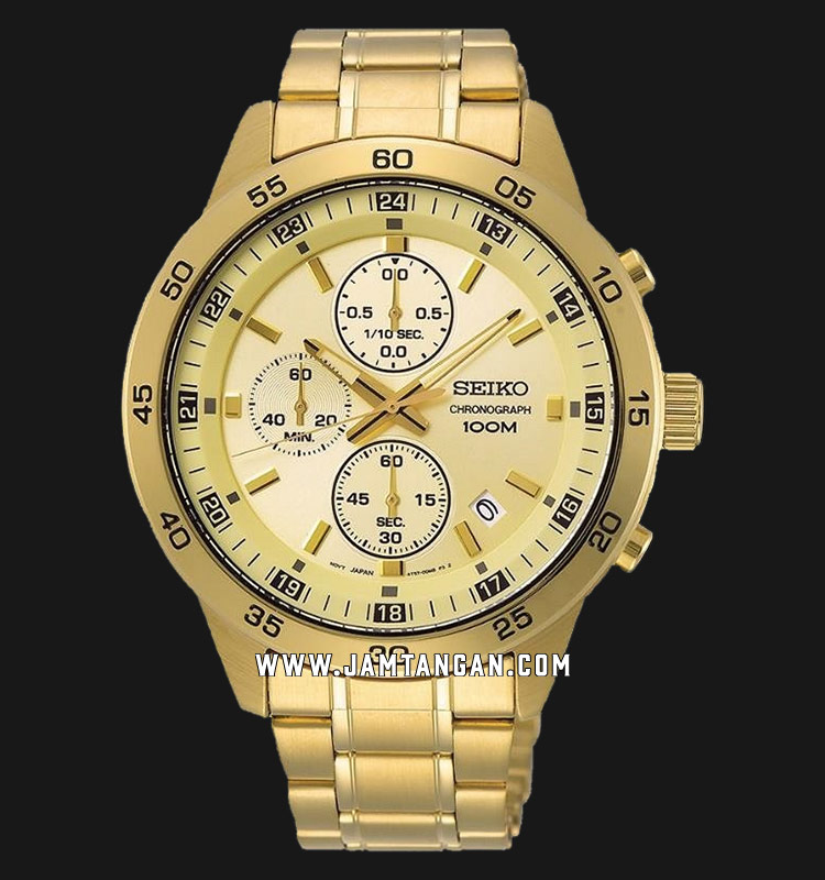 Seiko Chronograph SKS646P1 Gold Dial Gold Stainless Steel Strap Machtwatch