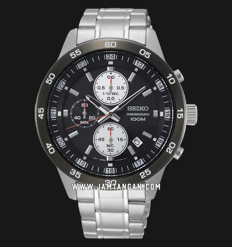 Seiko Chronograph SKS647P1 Black Dial Stainless Steel Strap Machtwatch