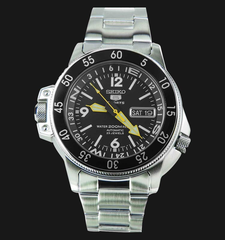 Seiko 5 Sports SKZ211K1 Map Meter Stainless Steel Machtwatch