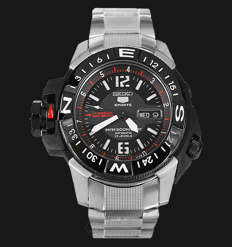 Seiko 5 Automatic SKZ229K1 Sport Black Dial Stainless Steel 200M Machtwatch