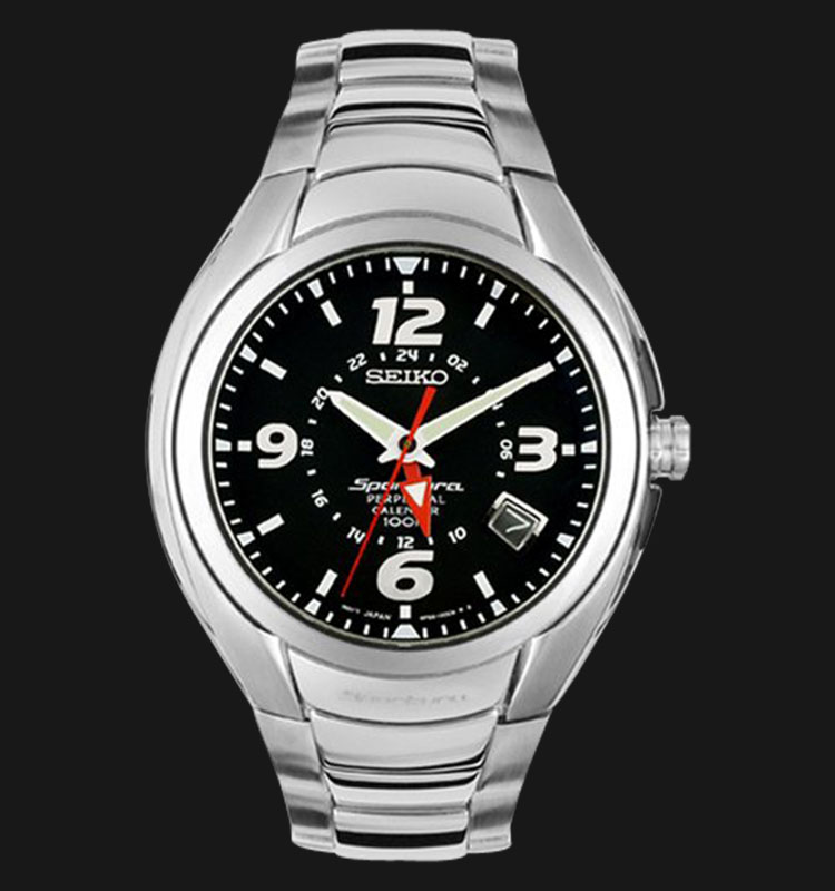 Seiko Sportura SLT073 Perpetual Calendar 100M Black Dial Stainless Steel Machtwatch