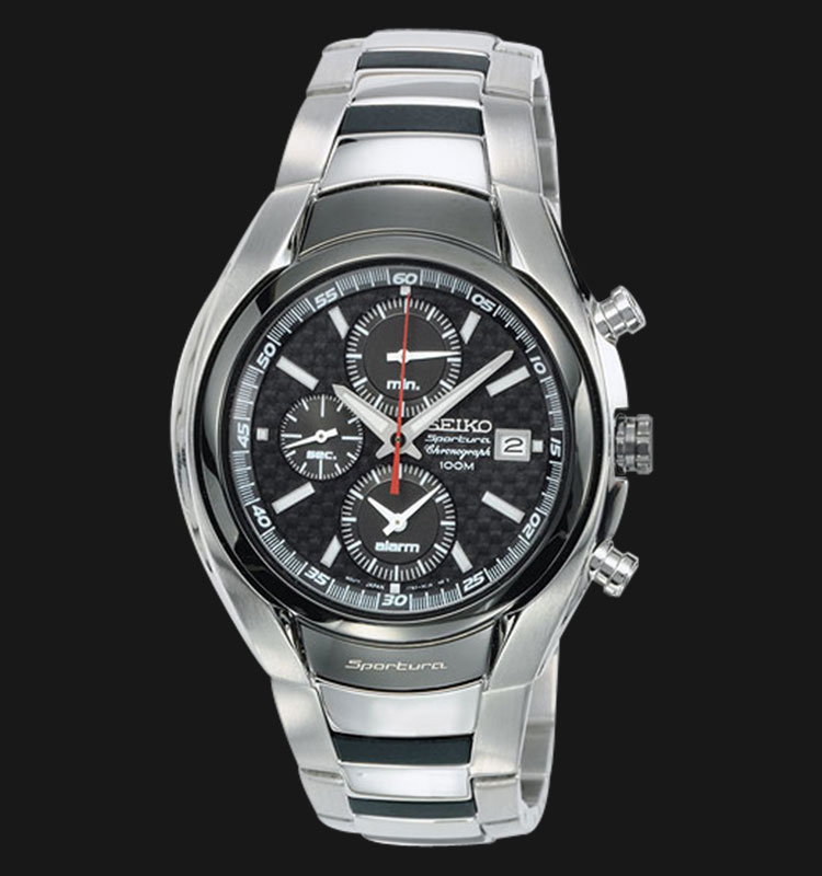 Seiko Sportura SNA201 Chronograph 100M Black Dial Stainless Steel Machtwatch