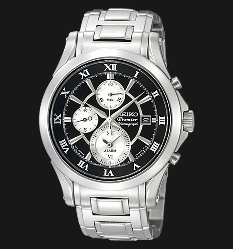 Seiko Premier SNAD27P1 Chronograph Black Dial Stainless Steel Machtwatch