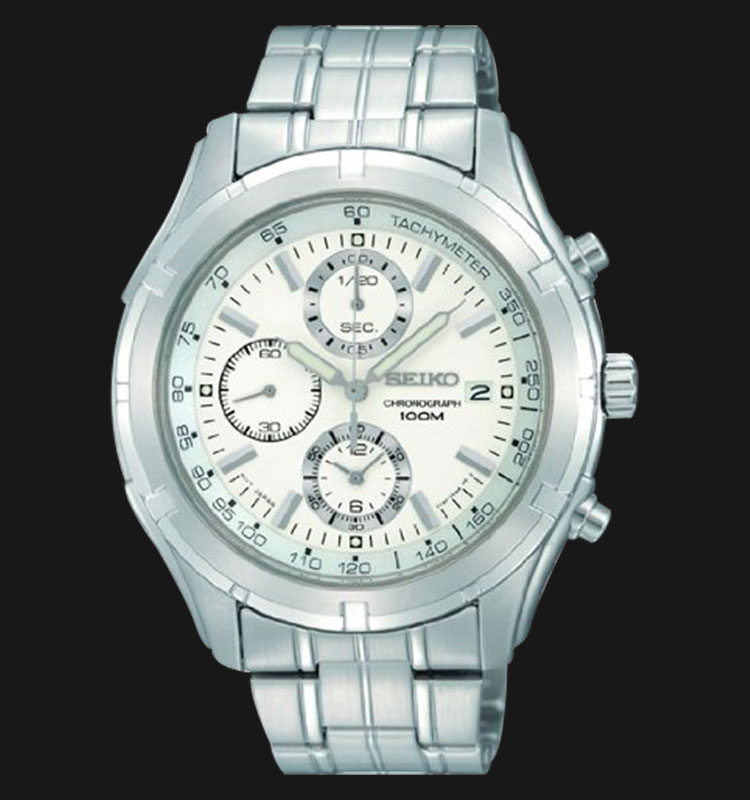 Seiko Chronograph SNDC35 Silver Dial Stainless Steel Machtwatch