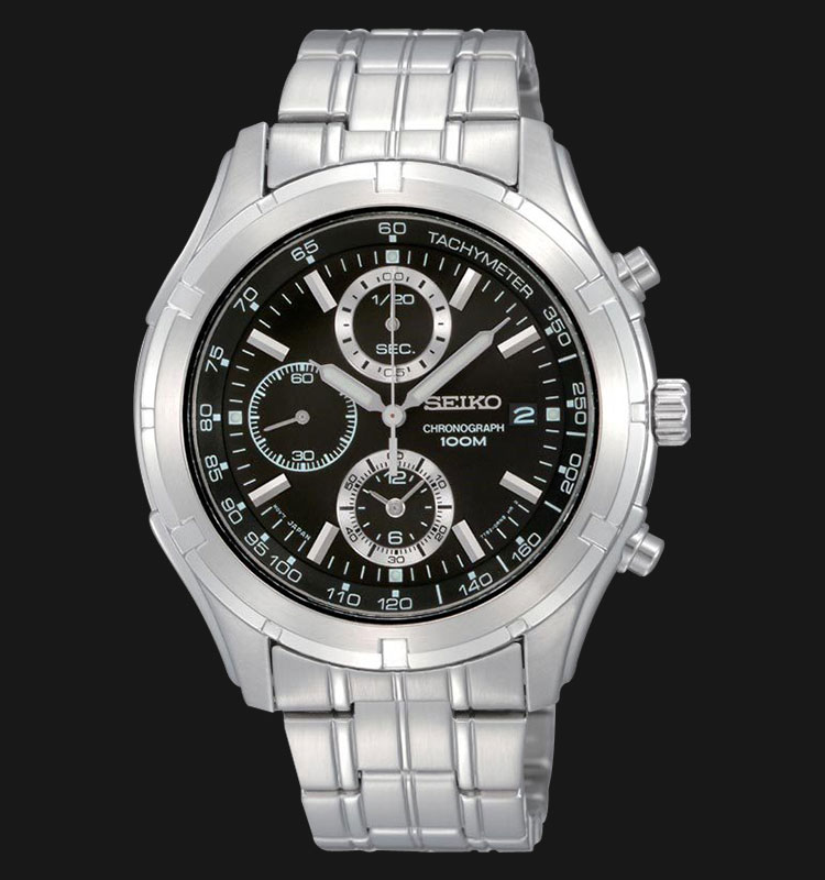 Seiko Chronograph SNDC37 Black Dial Stainless Steel Machtwatch