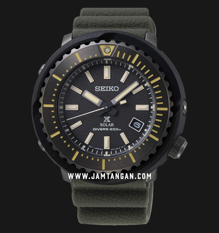 Seiko Prospex SNE543P1 Tuna Street Series Baselworld 2019 Solar Divers 200M Green Olive Rubber Strap Machtwatch