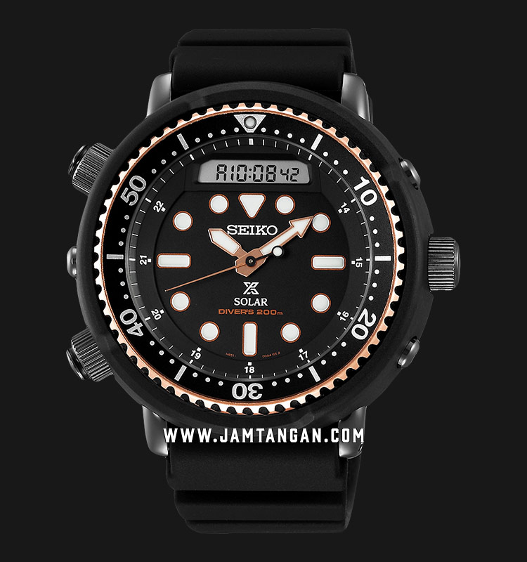 Seiko Prospex SNJ028P1 Solar Arnie Digital Analog Black Rubber Strap  [EXCLUSIVE AT JAMTANGAN.COM] | Jamtangan.com
