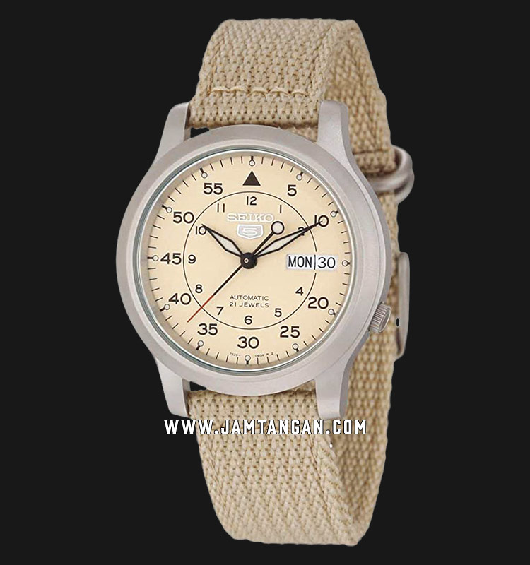 Seiko 5 SNK803K2 Automatic 21 Jewels Beige Military Nylon Strap Machtwatch