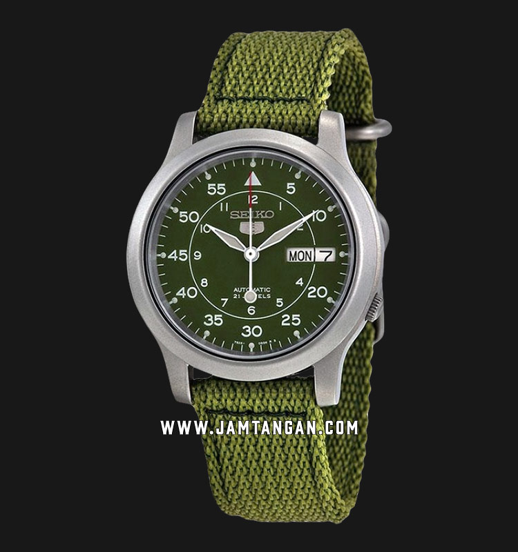 Seiko 5 SNK805K2 Automatic 21 Jewels Green Military Nylon Strap Machtwatch