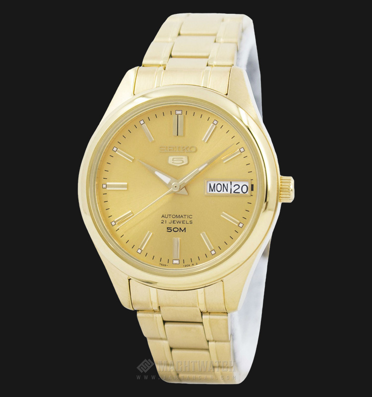 Seiko 5 Automatic SNK876K1 Gold Dial Gold-Tone Stainless Steel Machtwatch