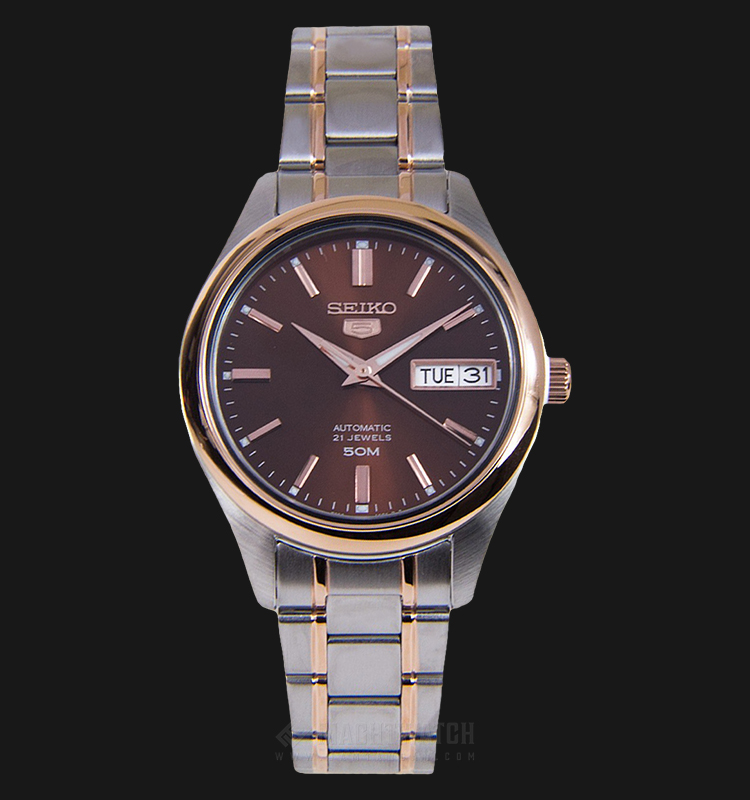 Seiko 5 SNK878K1 Automatic Brown Dial Dual Tone Stainless Steel Strap Machtwatch