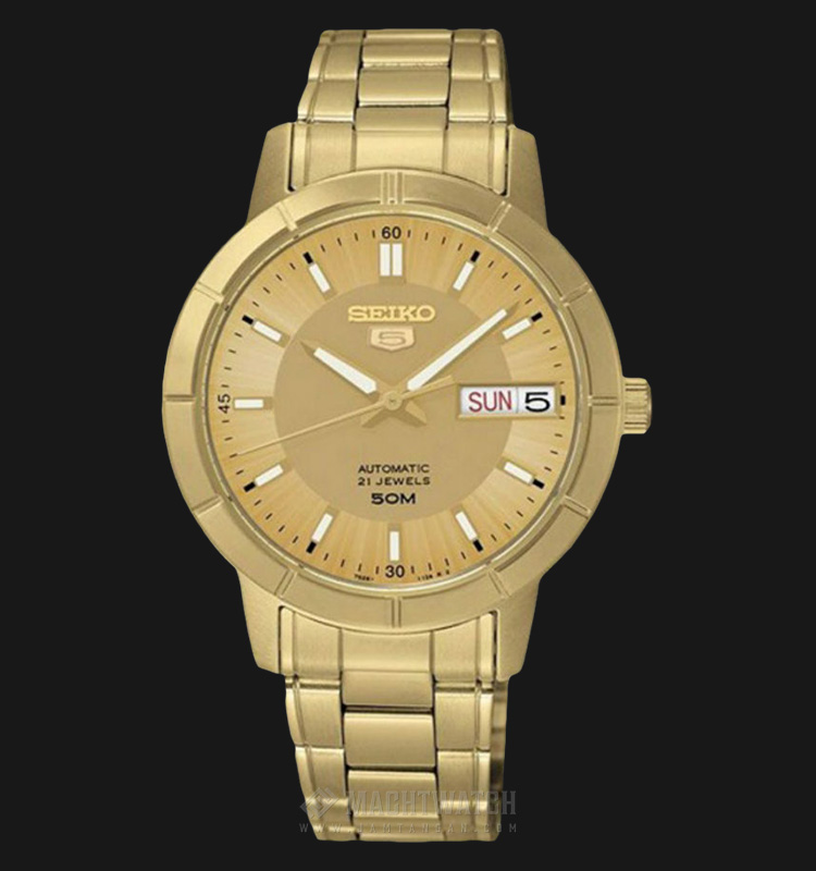 Seiko 5 Automatic SNK888K1 Gold Dial Gold Stainless Steel Machtwatch