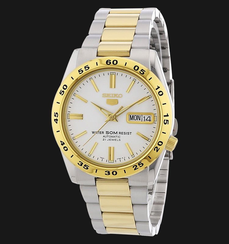 Seiko 5 SNKE04K1 Automatic White Dial Two-Tone Stainless Steel Machtwatch