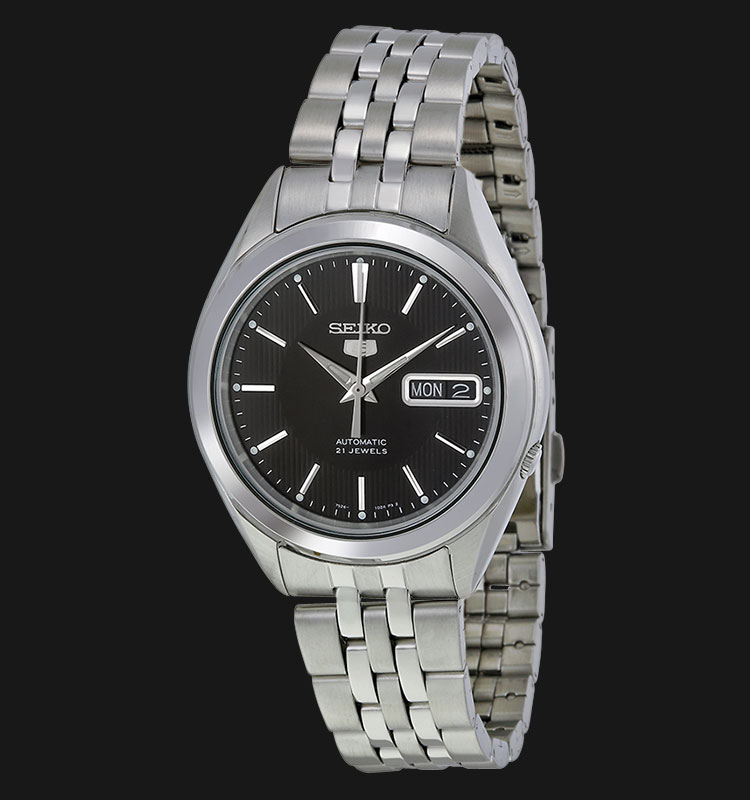 Seiko 5 SNKL23K1 Automatic Black Dial Stainless Steel Bracelet Machtwatch