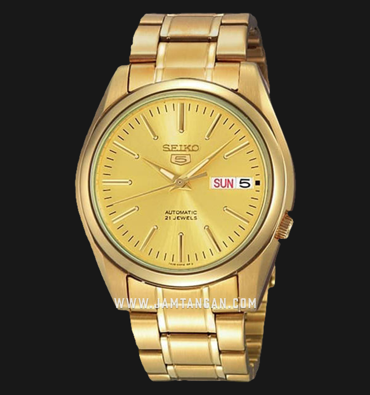 Seiko 5 SNKL48K1 Automatic Gold Dial Gold Stainless Steel Strap Machtwatch