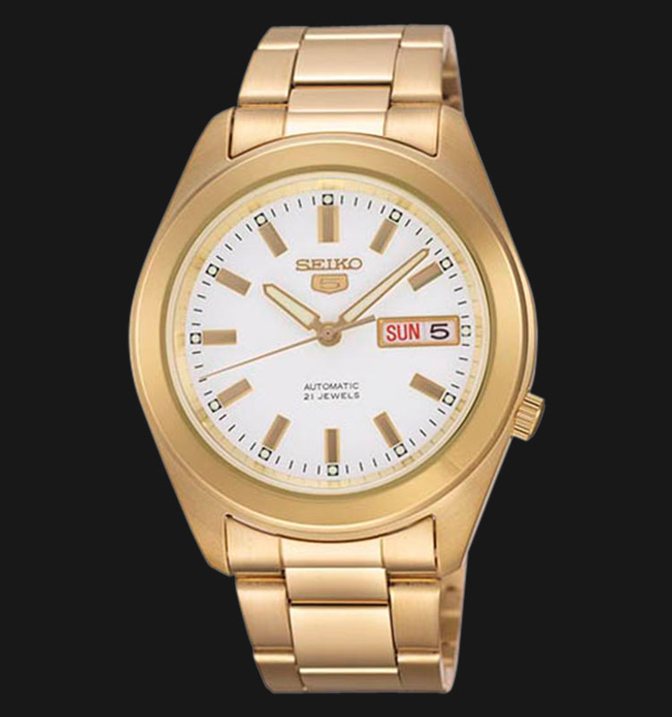 Seiko 5 SNKM72K1 Automatic White Dial Gold Tone Stainless Steel Machtwatch