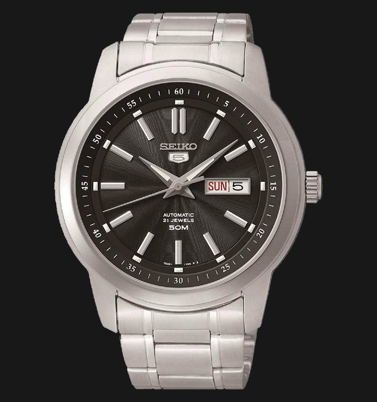 Seiko 5 SNKM87K1 Automatic Black Dial Stainless Steel Machtwatch