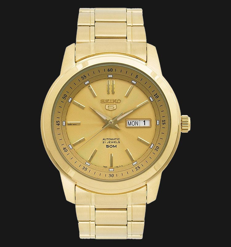 Seiko 5 SNKM94K1 Automatic Gold Dial Gold Tone Stainless Steel Machtwatch