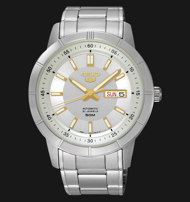 Seiko 5 SNKN53K1 Automatic Silver Dial Stainless Steel Bracelet Machtwatch