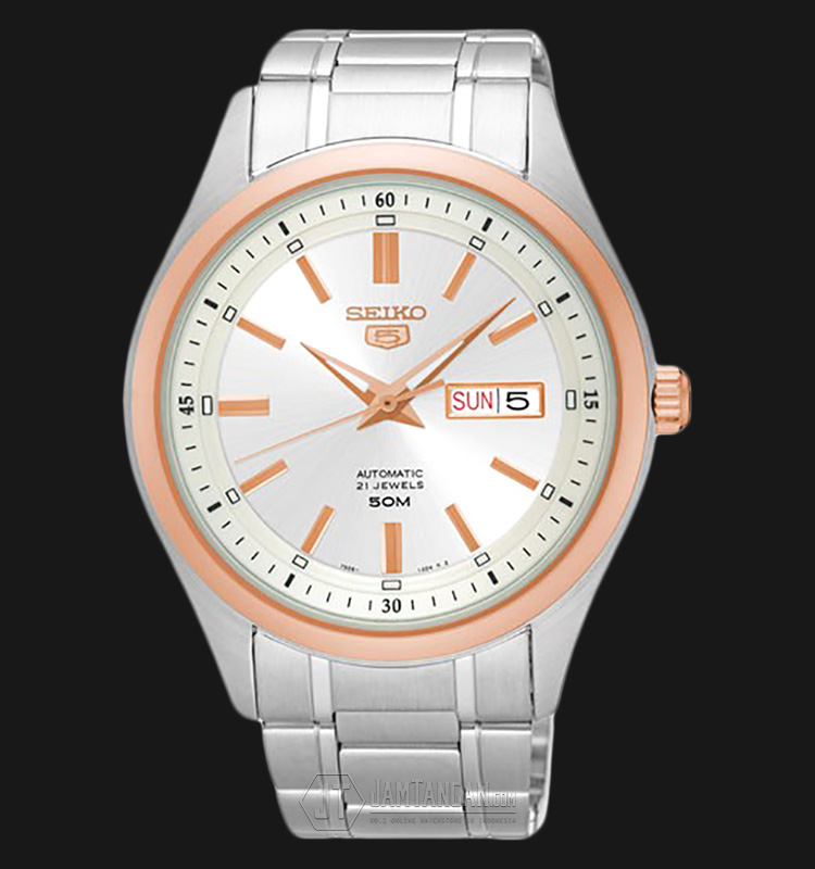 Seiko 5 SNKN90K1 Automatic Silver Dial Two-tone Rosegold Stainless Steel Machtwatch