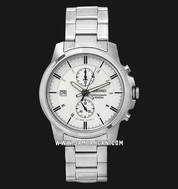 Seiko Chronograph SNN161P1 White Dial Stainless Steel Strap Machtwatch