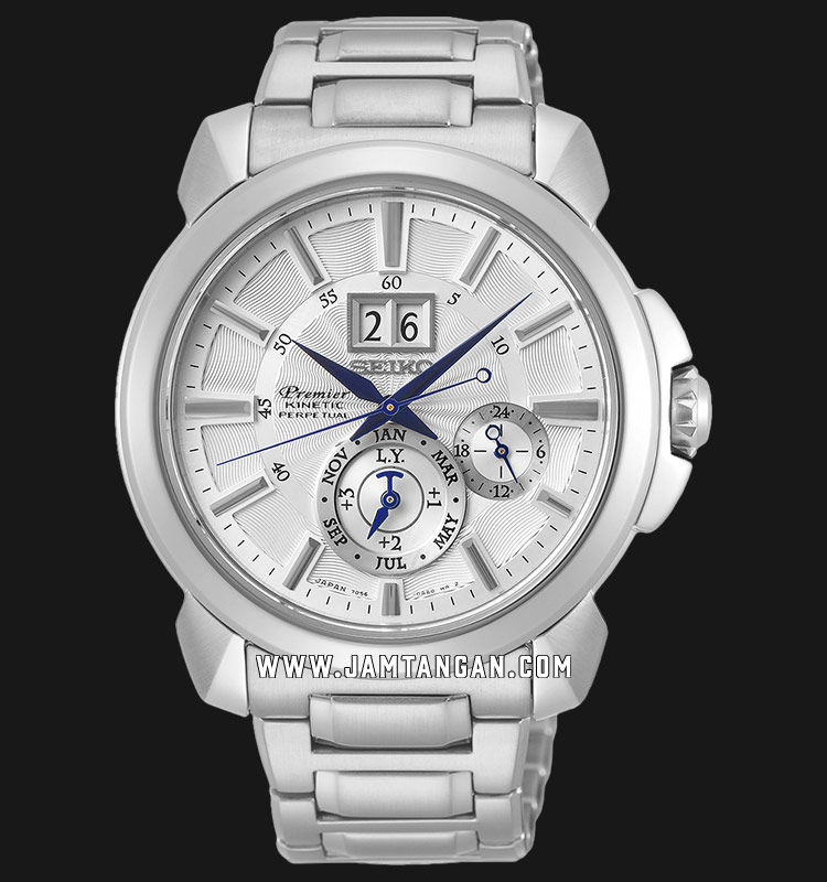 Seiko Premier SNP159P1 Kinetic Silver Dial Stainless Steel Machtwatch