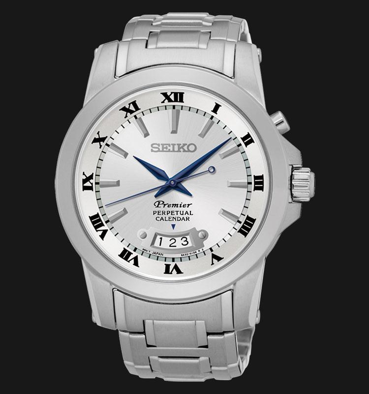 Seiko Premier SNQ145P1 Quartz Perpetual Calendar Silver Dial Stainless Steel Machtwatch