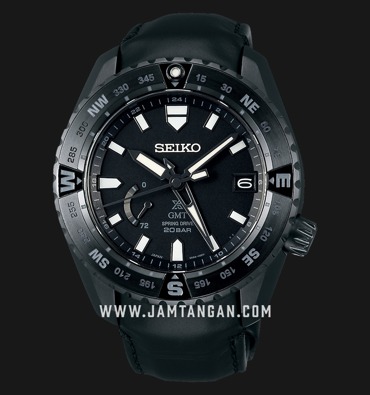 Seiko Prospex SNR027J1 GMT Baselworld 2019 Black Dial 200M Water Resistance Black Leather Strap Machtwatch
