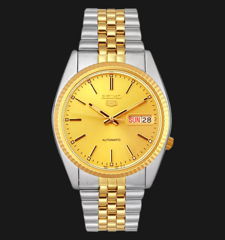 Seiko 5 SNXJ92K1 Automatic Gold Dial Two-Tone Stainless Steel Machtwatch