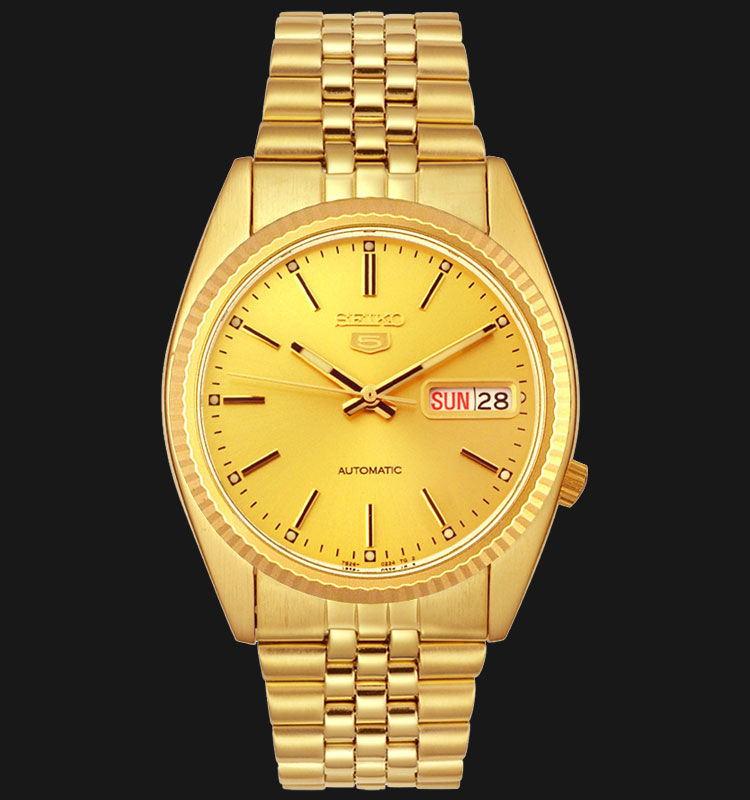 Seiko 5 SNXJ94K1 Automatic Gold Dial Gold Tone Stainless Steel Machtwatch