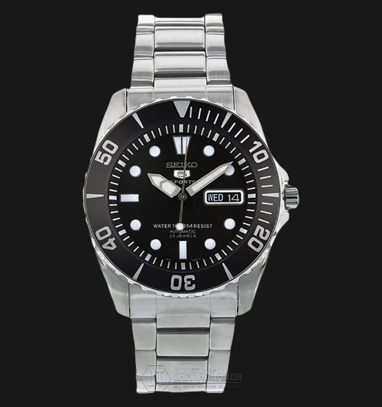 Seiko 5 Sports SNZF17K1 Sea Urchin Automatic 23J Black Dial Stainless Steel 100M Machtwatch