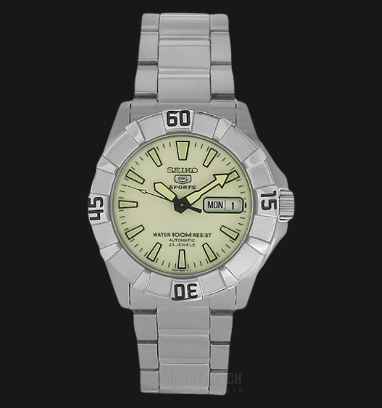 Seiko 5 Automatic SNZF59K1 Green-light Dial Stainless Steel Men Watch Machtwatch