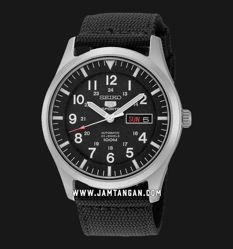 Seiko 5 Sports SNZG15K1 Automatic Black Dial Stainless Steel Case Nylon Strap Machtwatch
