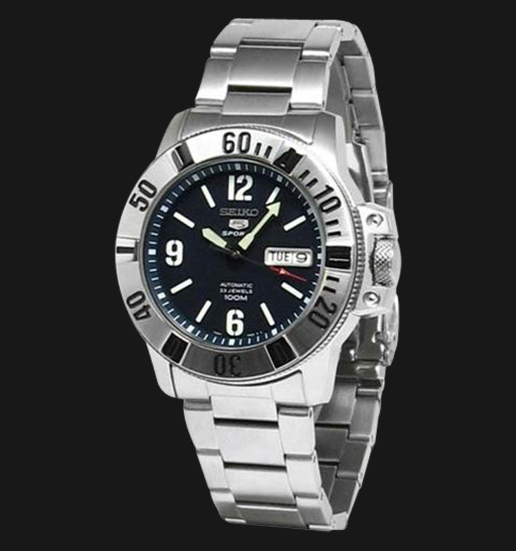 Seiko 5 Sports SNZG79 Automatic Black Dial Stainless Steel Machtwatch