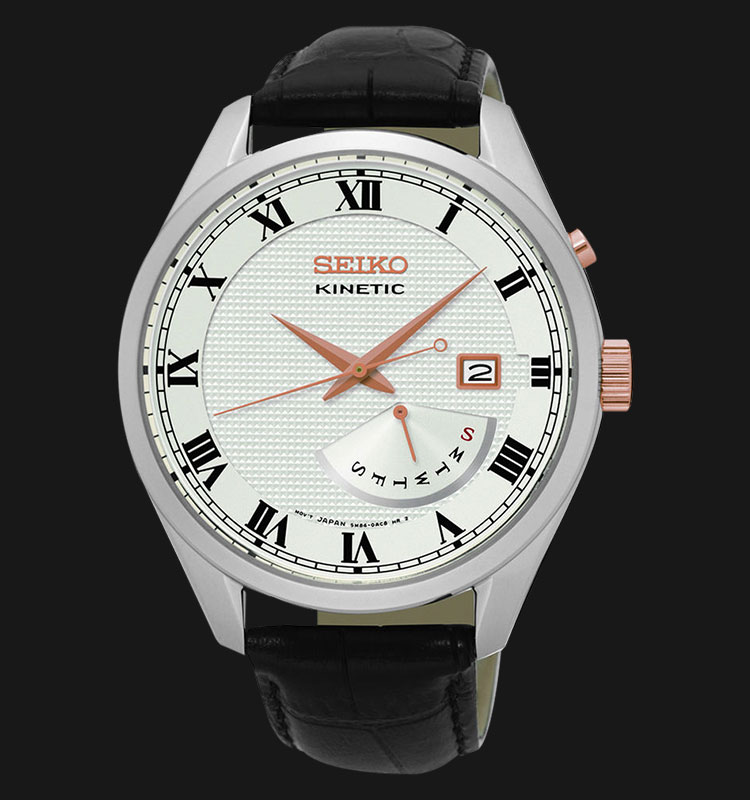 Seiko Kinetic SRN073P1 Silver Case White Dial Black Leather Strap Machtwatch