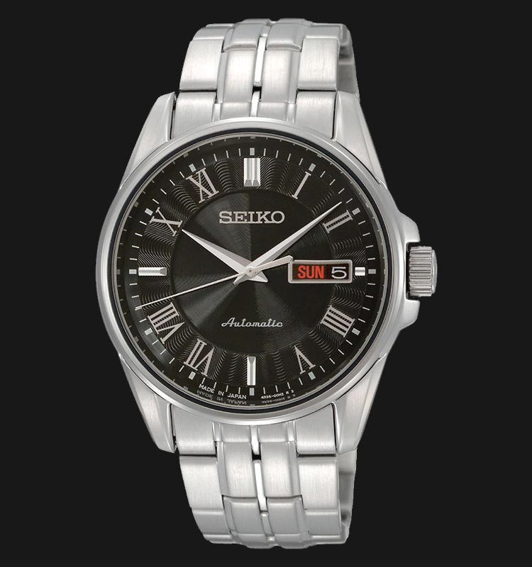 Seiko SRP183J1 Automatic Presage Stainless Steel Case Black Dial Machtwatch