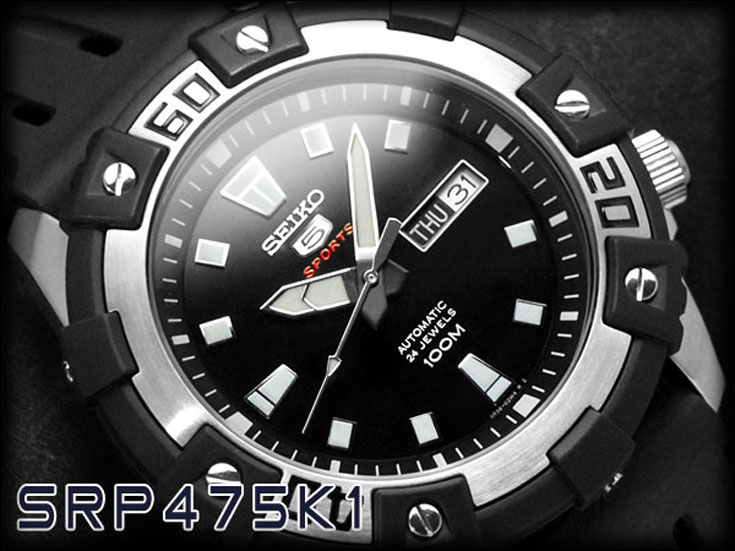 Seiko 5 Sports SRP475K1 Automatic Black Dial Stainless Steel Case Rubber Strap Machtwatch