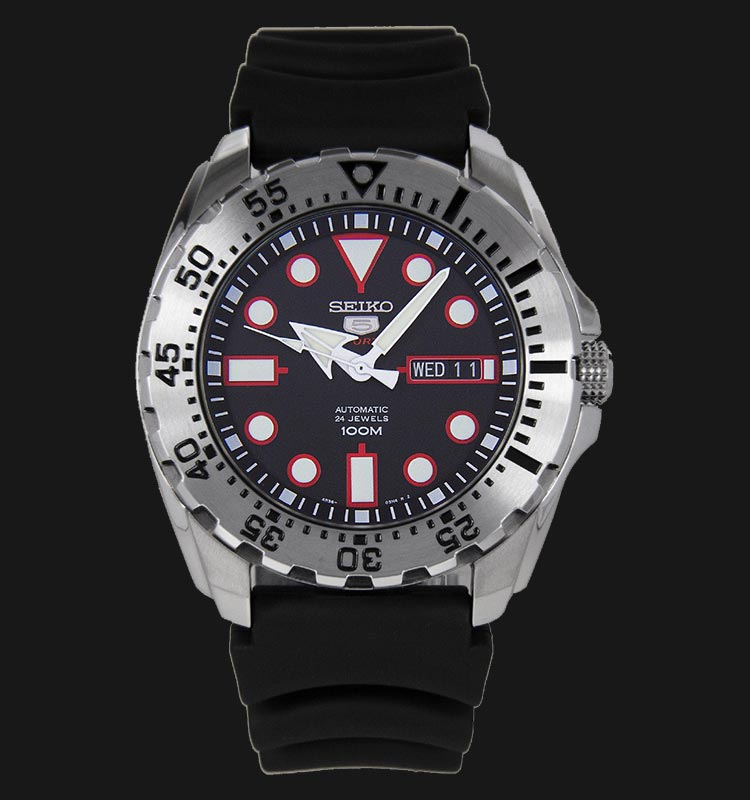 Seiko 5 Sports SRP601K1 Automatic Black Dial Stainless Steel Case Rubber Strap Machtwatch