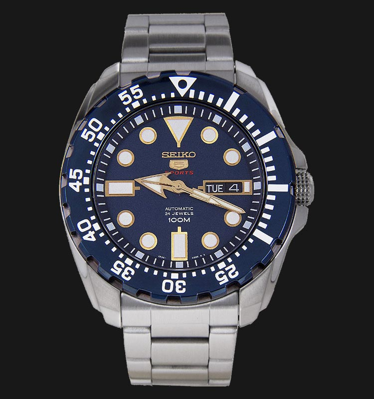 Seiko 5 Sports SRP605K1 Automatic Blue Dial Stainless Steel Bracelet Machtwatch