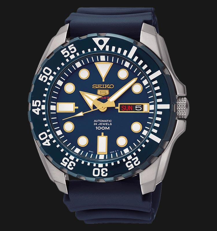 Seiko 5 Sports SRP605K2 Automatic Blue Dial Stainless Steel Case Rubber Strap Machtwatch