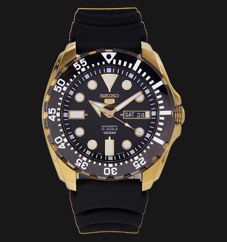 Seiko 5 Sports SRP608K1 Automatic Stainless Steel Case Rubber Strap Machtwatch